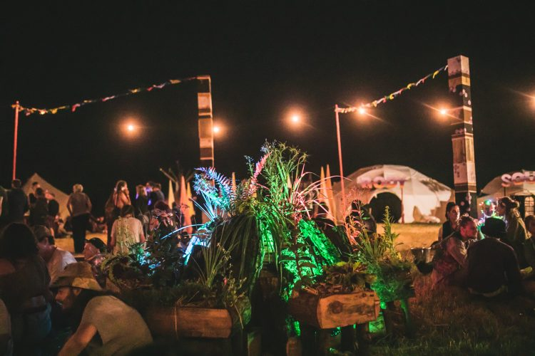 plant decorations in the middle of Noisily Festival 2018 site at night