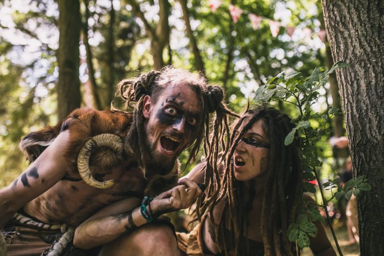 male and female Noisily Festival 2018 attendees in tribal fancy dress