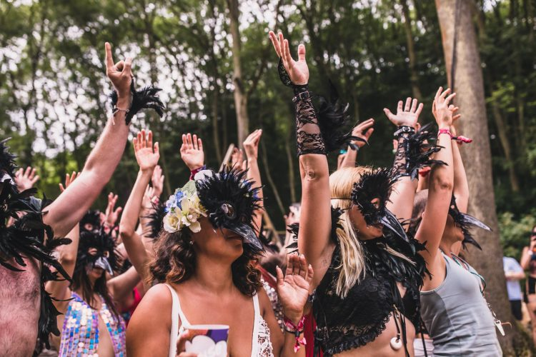 group of Noisily Festival 2018 attendees wearing bird masks