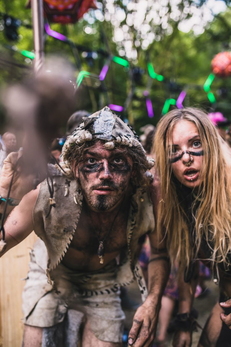 man and woman wearing tribal fancy dress during Noisily Festival 2018