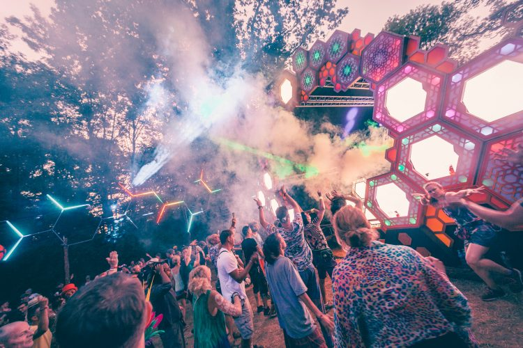 crowd listening to psytrance and dancing at the Liquid stage during Noisily Festival 2018