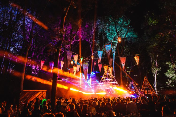bunting hanging above a Noisily Festival 2019 music stage