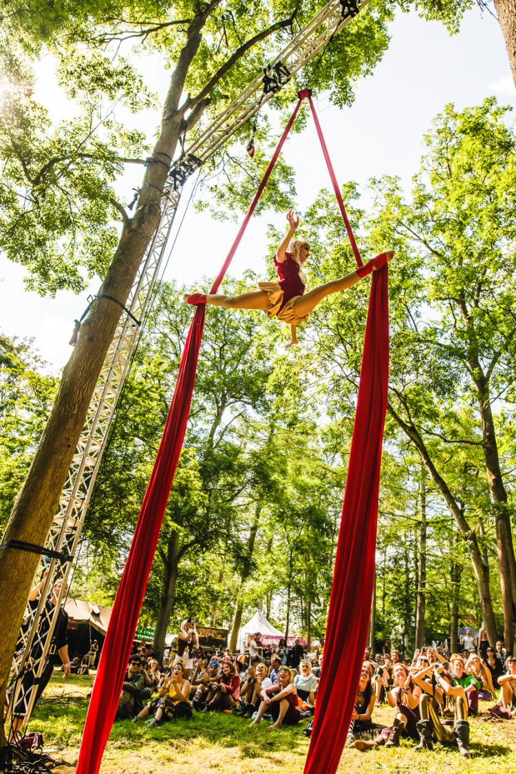 woman in red outfit performing acrobatics from a tree at Noisily Festival 2019