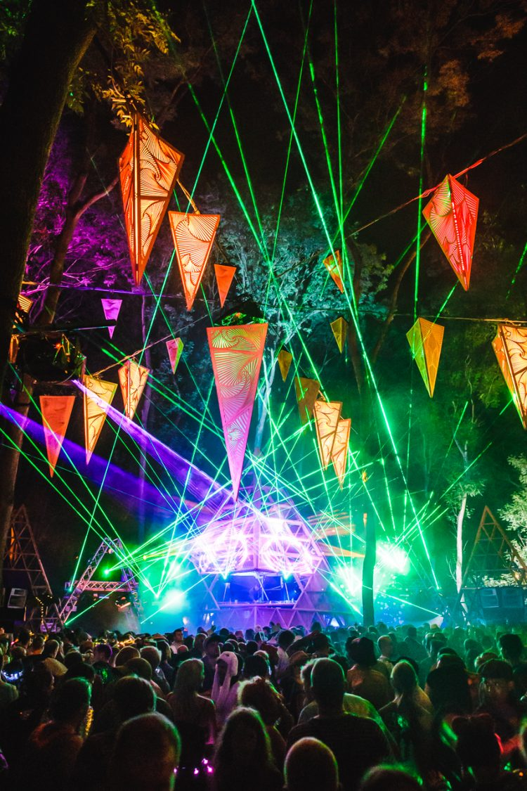 lasers firing from the Noisily stage playing psytrance during Noisily festival 2019