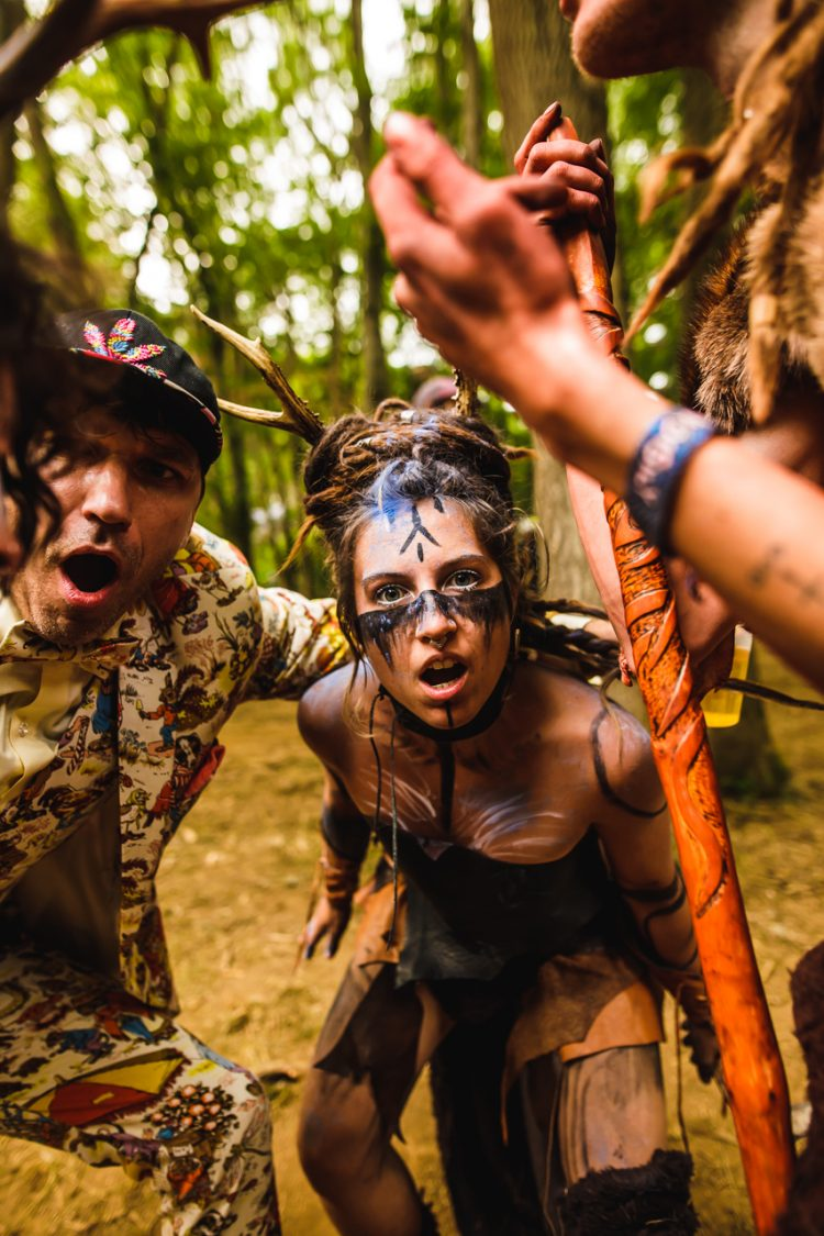 woman and man in fancy dress staring at Noisily Festival 2019