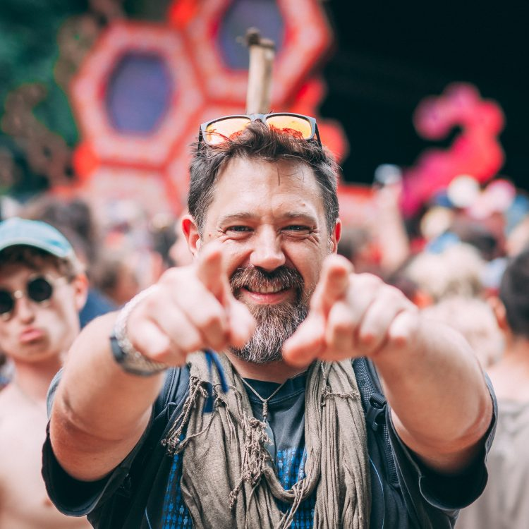 man pointing into camera with both hands during Noisily Festival 2019