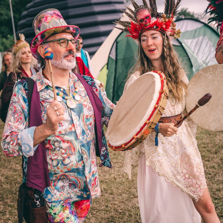 Male and female performers chanting and banging on drums at Noisily Festival 2019