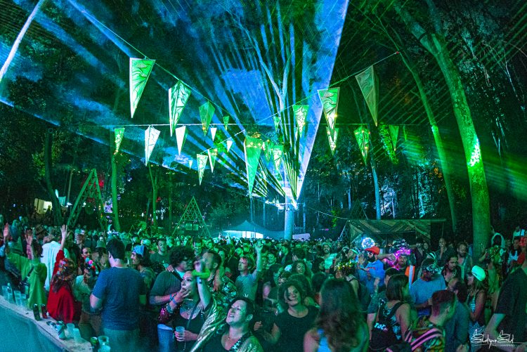 Large crowd dancing to music under bunting at Noisily Festival 2019