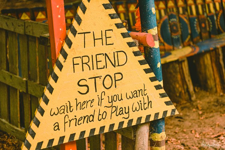 Sign outside storefront that says 'The Friend Stop' at Noisily Festival 2019