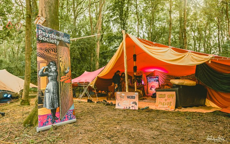 The Psychedelic Society tent in the woods of Noisily Festival 2019