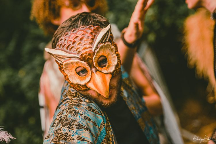 man with an owl mask staring at camera during Noisily Festival 2019