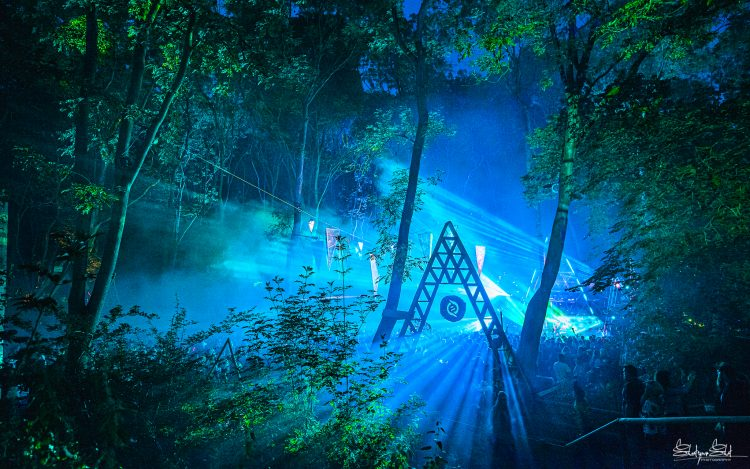 art installation viewed from the woods at night during Noisily Festival 2019
