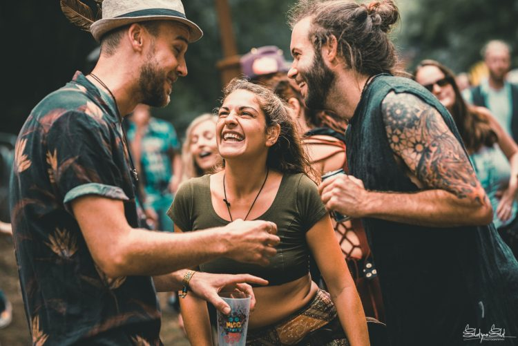 group of friends dancing and smiling at Noisily Festival 2019