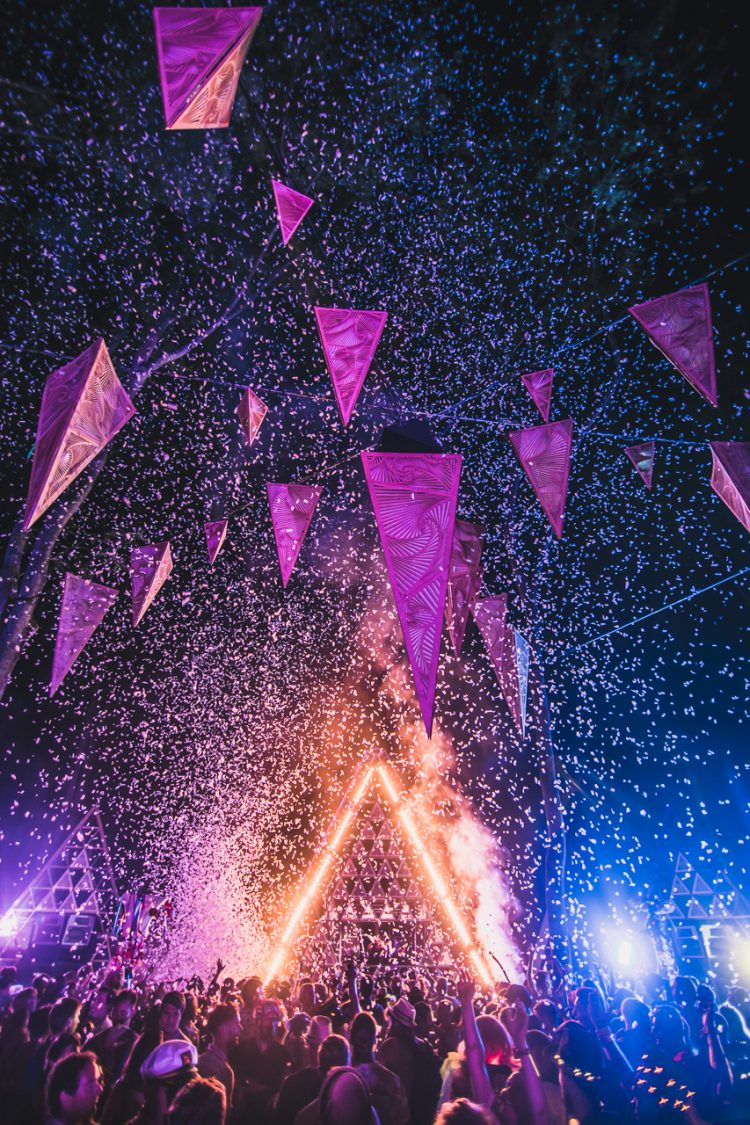 confetti firing from music stage at night during Noisily Festival 2018