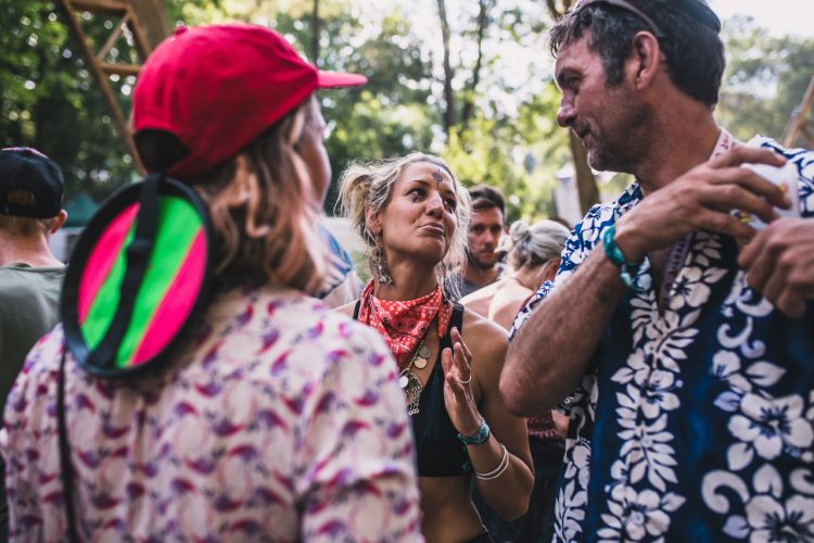 male and female festival goer looking at each other whilst dancing during Noisily Festival 2018