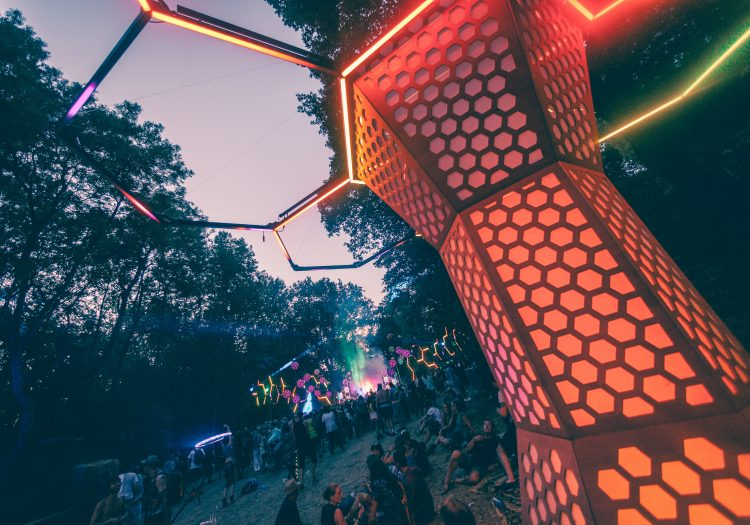 glowing red art installation at Noisily Festival 2018