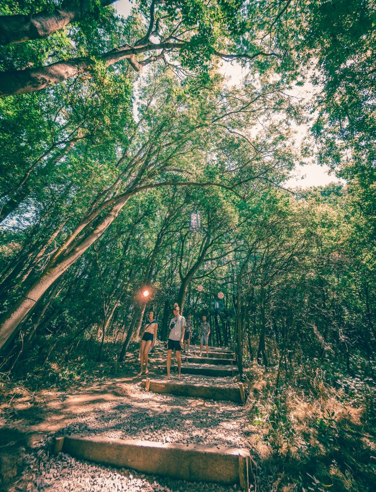 boy and girl walking through coney woods at Noisily Festival 2018