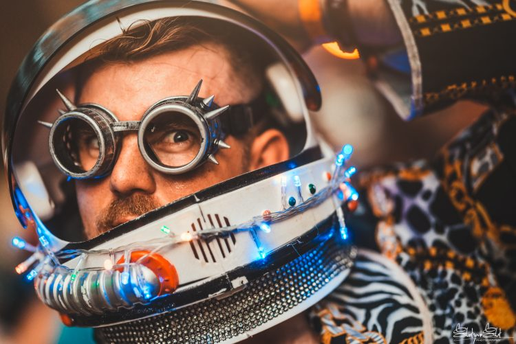 man in space helmet and googles at Noisily Festival 2018