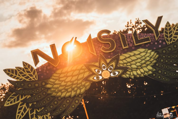 Noisily Festival 2018 entrance sign at sunset