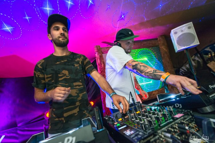 two male DJ's playing with their equipment at Noisily Festival 2018 Leisure Centre stage