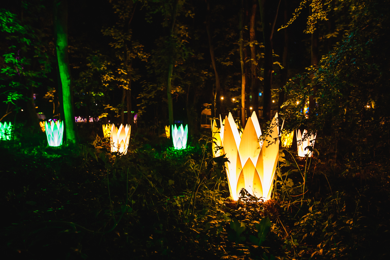 Art installation of giant lotus followers in the woods at Noisily Festival