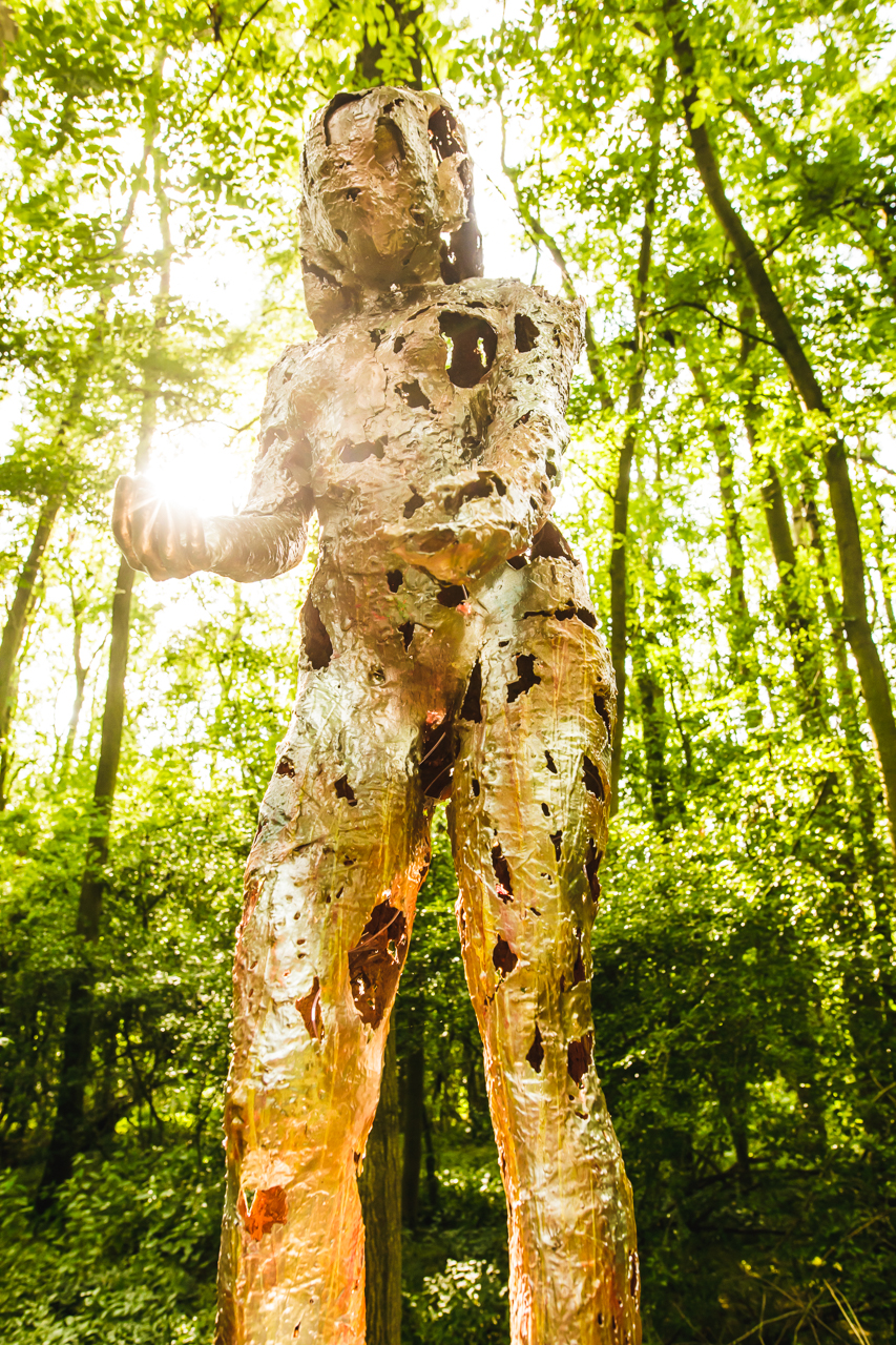 Art installation of human body at Noisily Festival in the Woods